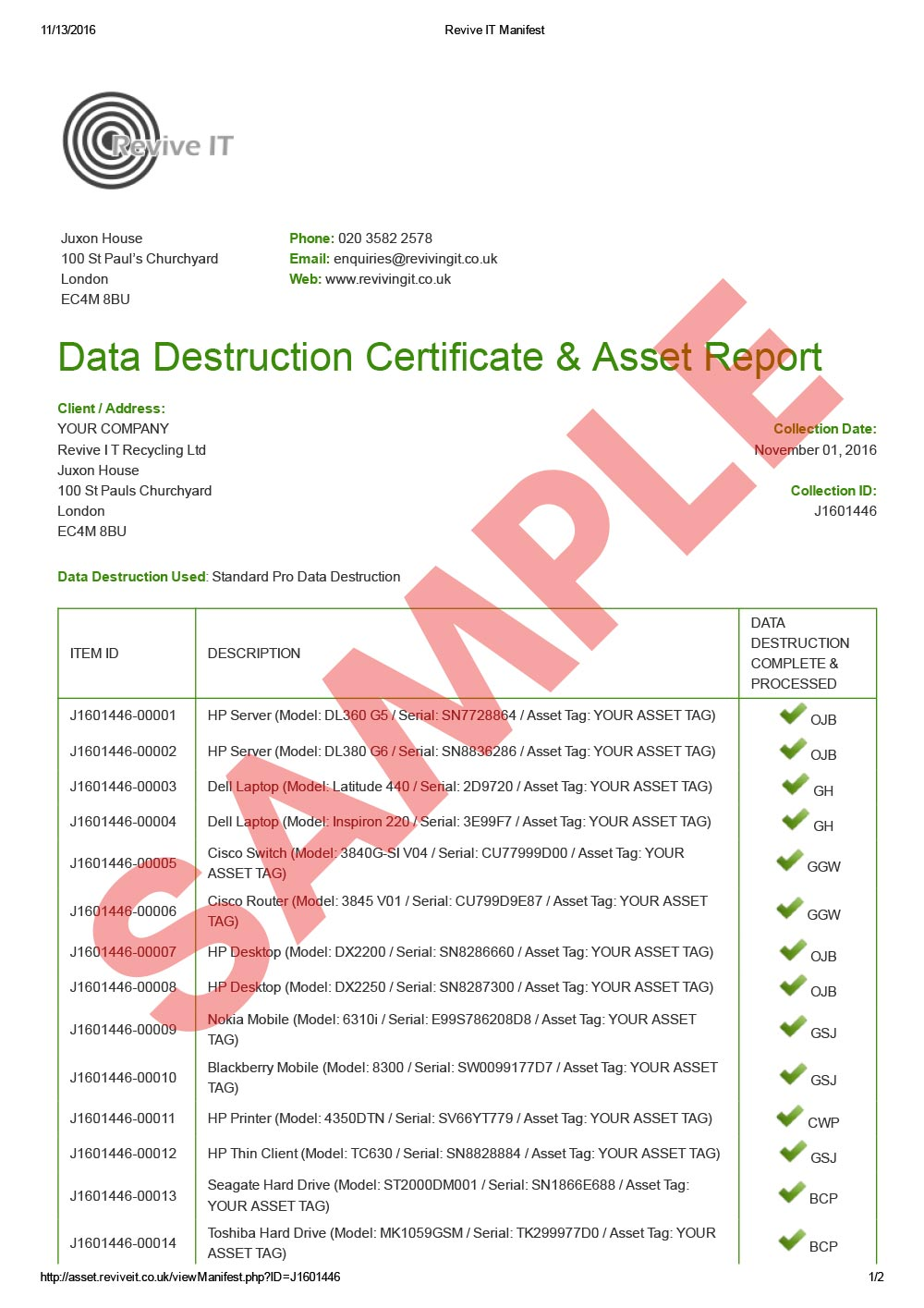 Licences certificates revive it recycling computer disposal data destruction certificate asset report 1betcityfo Images